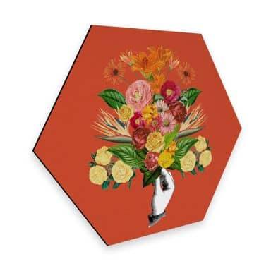 Hexagon - Alu-Dibond Feldmann - Botanical Red