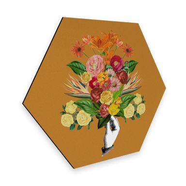 Hexagon - Alu-Dibond Feldmann - Botanical Yellow