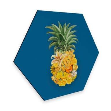 Hexagon - Alu-Dibond Feldmann - Pineapple Blue Floral