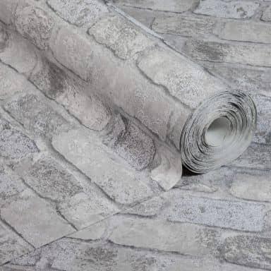 Anaglypta® Brick Princess Street Vliestapete in Vintage Backstein Optik grau, weiß