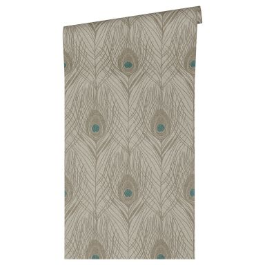 Architects Paper Vliestapete Absolutely Chic Tapete mit Federn blau, braun, grau