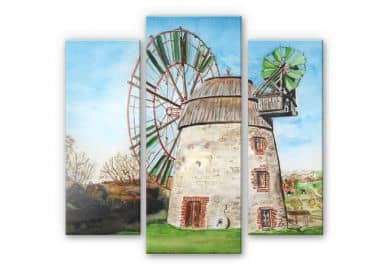 Acrylglasbild Toetzke - Holländerwindmühle (3-teilig)
