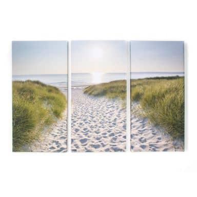 3-er Set Leinwandbild Beach Walk