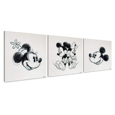 Canvas set - Mickey Minnie Schets (3-delig)