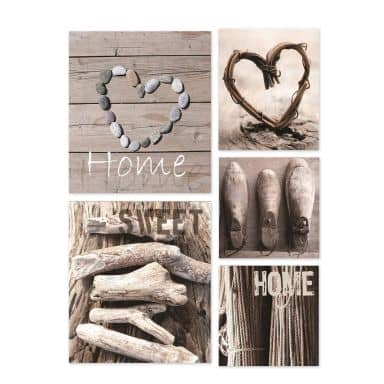5-er Set Leinwandbild Home Sweet Home