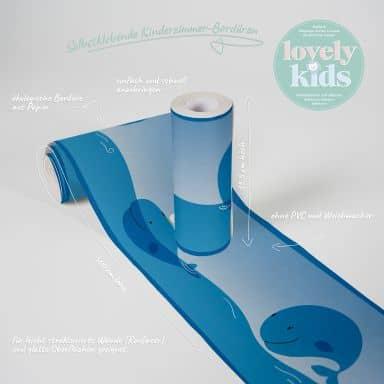 Lovely Kids selbstklebende Kinderzimmer Bordüre Ocean Friends mit süßen Walen und Möwen