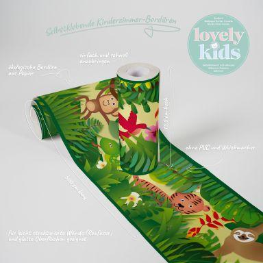 Lovely Kids selbstklebende Kinderzimmer Bordüre Jungle Friends mit süßen Dschungel-Tieren