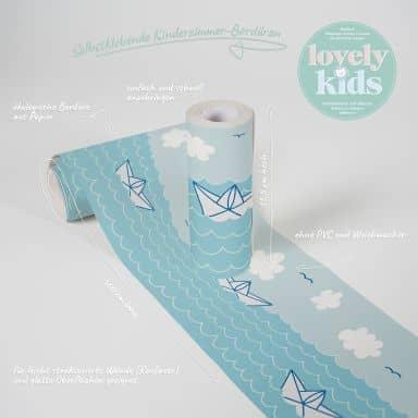 Lovely Kids selbstklebende Kinderzimmer Bordüre Paper Boat Love mit Papierbooten