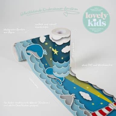 Lovely Kids selbstklebende Kinderzimmer Bordüre Fishing Captain mit Wellen und Meer