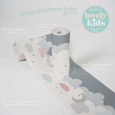 Lovely Kids selbstklebende Kinderzimmer Bordüre Dreamy Sky mit niedlichen Wolken
