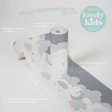 Lovely Kids selbstklebende Kinderzimmer Bordüre Dreamy Sky mit süßen Wolken