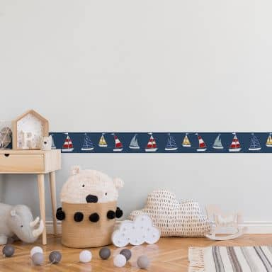 Lovely Kids selbstklebende Kinderzimmer Bordüre Sailor Friends mit Segelbooten