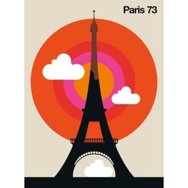 Livingwalls Fototapete ARTist Paris 73 Eiffelturm beige, orange, rosa, rot, schwarz, weiß