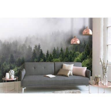 Livingwalls Fotobehang Designwalls Foggy Fir Trees