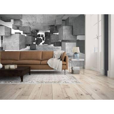 Livingwalls Fototapete Designwalls Concrete Tetris in 3D Optik