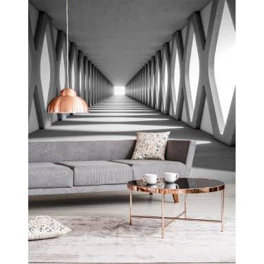 Livingwalls Fototapete Designwalls Grey Aisle in 3D Optik