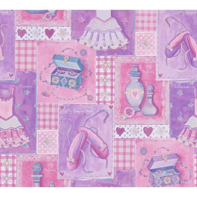 A.S. Création paper wallpaper Boys & Girls 5 multicolored, pink, purple