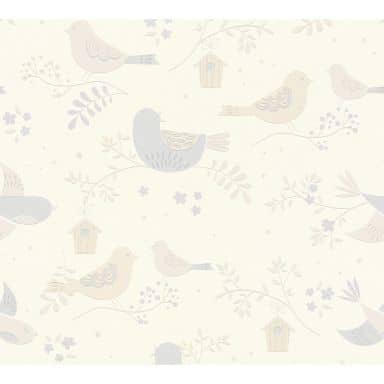 A.S Créations Boys & Girls 6 Papier peint avec oiseaux, Beige, Gris, Blanc