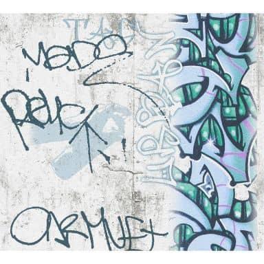 A.S Créations Boys & Girls 6 Papier peint graffiti, Gris, Vert, Noir