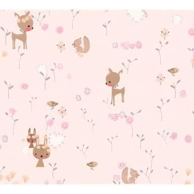 A.S. Création Papiertapete Boys and Girls Kinderzimmertapete mit niedlichen Tieren braun, grün, rosa