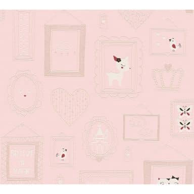 A.S. Création Vliestapete Boys and Girls Kinderzimmertapete Prinzessin Glitzereffekt rosa, rot, weiß