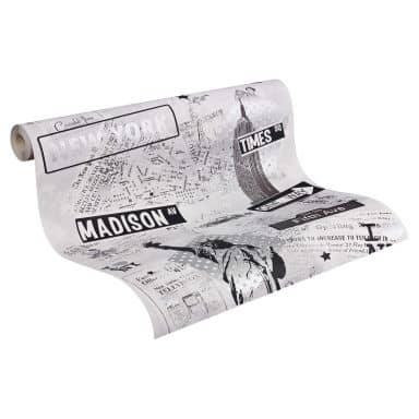 A.S. Création paper behang Boys & Girls 5 grijs, metallic