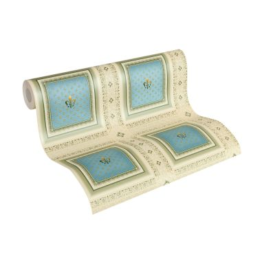 A.S. Création Vliestapete Hermitage Barocktapete mit Ornamenten beige, blau, grün