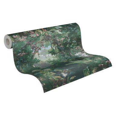 A.S. Création History of Art Papier peint forêt Vert, Bleu, Rose