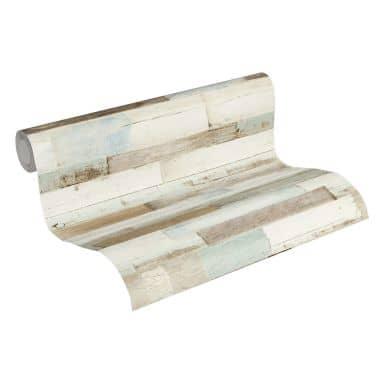 A.S. Création Vliestapete Il Decoro Tapete in Holzoptik Holzplanken blau, braun, weiß