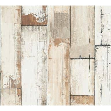 A.S. Création ikke-vævet tapet il Decoro tapet - Vintage Trælook, Brun, Creme, Hvid