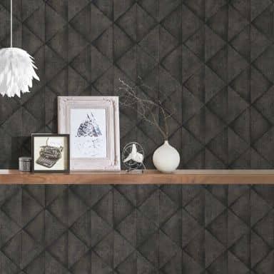 Livingwalls Industrial Papier peint géométrique effet béton Gris Noir