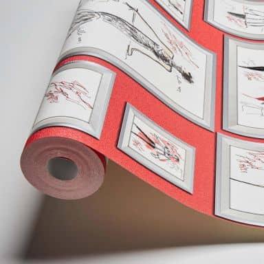 Karl Lagerfeld Wallpaper Vliestapete Sketch grau, metallic, rot