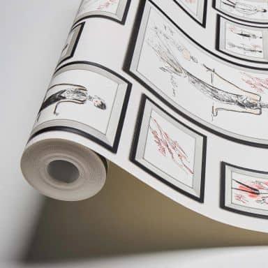 Karl Lagerfeld Wallpaper Vliestapete Sketch grau, rot, weiß