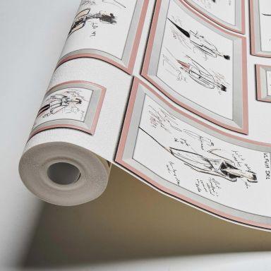 Karl Lagerfeld Wallpaper Vliestapete Sketch grau, rosa, weiß