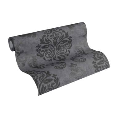 A.S. Création Wallpaper Memory 2 Grey, Metallic, Black