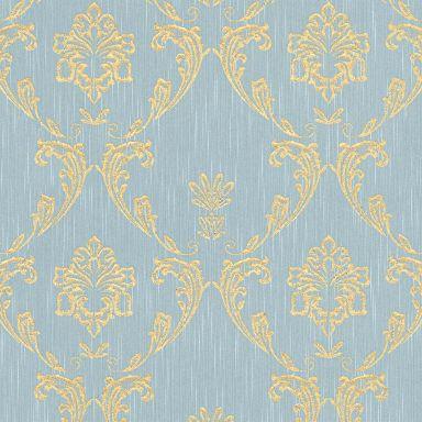 Architects Paper Metallic Silk Papier peint baroque, Or, Bleu,
