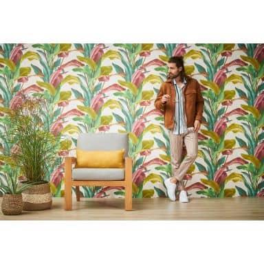 Livingwalls Metropolitan Stories 2 Antonio - Barcelona Papier peint floral palmier, Coloré, Crème,