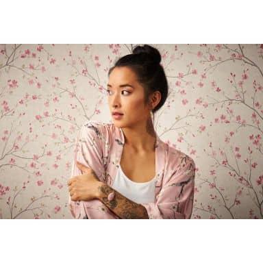 Livingwalls Vliestapete Metropolitan Stories Tapete mit Kirschblüten Mio Tokio braun, rosa, weiß