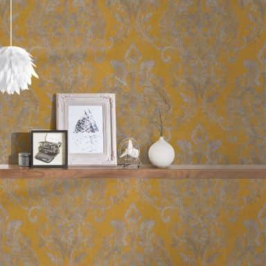 A.S. Création Vliestapete New Life Barocktapete mit Ornamenten gelb, grau, metallic