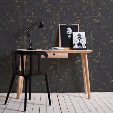 A.S. Création Vliestapete Used Look Vintagetapete metallic, schwarz