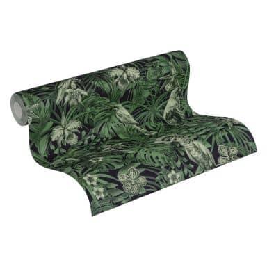 A.S. Création Vliestapete Greenery Dschungeltapete mit Vögeln grün, schwarz