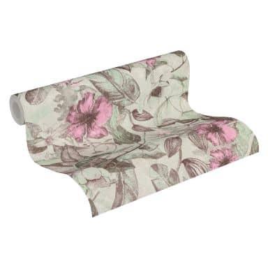 A.S. Création Vliestapete Greenery Blumentapete floral braun, grau, rosa