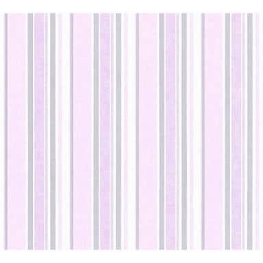 A.S. Création Little Stars   Papier peint à rayures - Rosé, argent