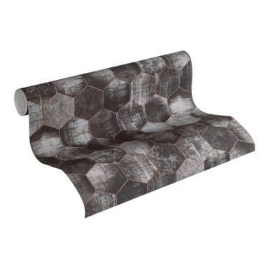 A.S. Création Vliestapete Materials geometrische Tapete grau, metallic