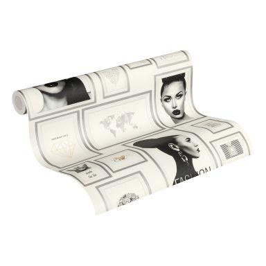 Livingwalls papier peint intissé Metropolitan Stories papier peint Lola Paris métallisé;noir;blanc