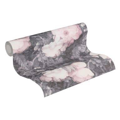 Livingwalls Vliestapete Metropolitan Stories Anke & Daan Amsterdam Blumentapete floral grau, rosa, schwarz