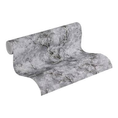 Livingwalls Vliestapete New Walls Cosy & Relax Blumentapete mit Kirschblüten grau, schwarz, weiß