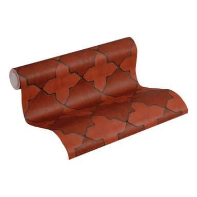 Livingwalls Papier peint intissé New Walls Finca Home motif carrelage rouge, gris, noir