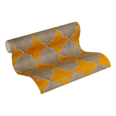 Livingwalls Papier peint intissé New Walls Finca Home motif carrelage jaune, beige, crème