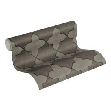 Livingwalls Papier peint intissé New Walls Finca Home motif carrelage gris, noir
